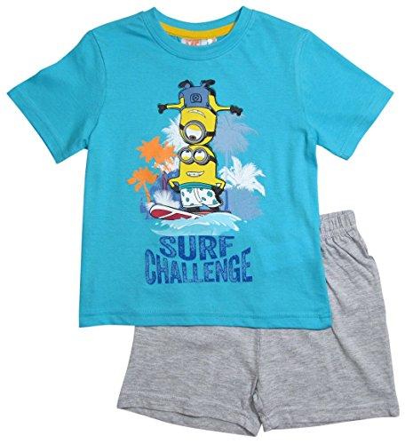 Minions Pyjama Kollektion 2016 Shortie 92 98 104 110 116 122 128 Shorty Kurz Schlafanzug Blau-Grau (92 - 98, Blau-Grau)