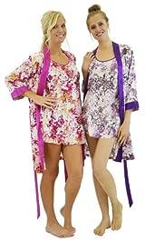 Silk Floral Kimono Robe 3/4 sleeves - Pink or Lavender