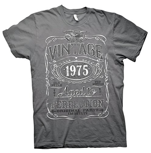 Vintage Aged To Perfection 1975 - Distressed Print - 40th Birthday Gift T-shirt  - Charcoal