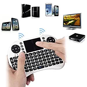 HDE Wireless 2.4GHz Portable Handheld Pocket Multimedia Keyboard Touchpad Mouse for PS3, XBOX, PC, TV Boxes (White)