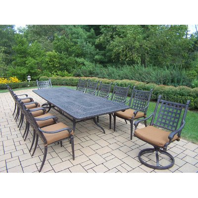 Oakland Living Belmont 13-Piece Expandable Dining Table Set with Sunbrella Cushions, 46 by 84 by 126-Inch picture