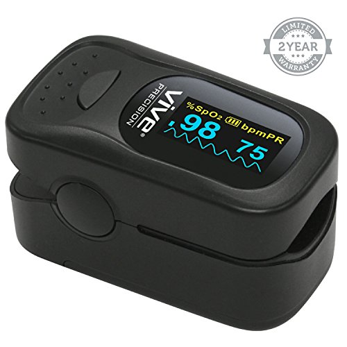 Finger Pulse Oximeter by Vive - Best SpO2 Device for Blood Oxygen Saturation Level Reading - Fingertip Oxygen Meter w/ Alarm & Pulse Rate Monitor - Travel Case & Lanyard Included - 2 Year Warranty