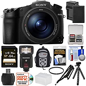 Sony Cyber-Shot DSC-RX10 III 4K Wi-Fi Digital Camera with 64GB Card + Battery & Charger + Backpack + Tripod + Filter + Flash & LED Light + Kit