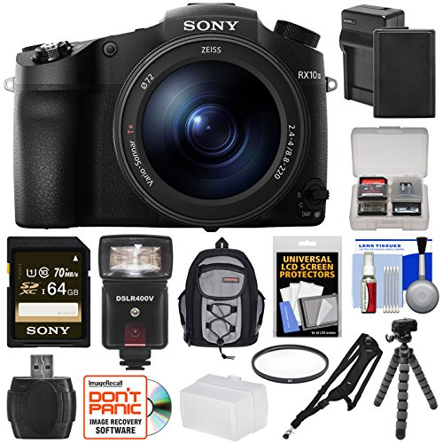 Sony Cyber-Shot DSC-RX10 III 4K Wi-Fi Digital Camera with 64GB Card + Battery & Charger + Backpack + Tripod + Filter + Flash & LED Light + Kit (Sony Filter Kit compare prices)