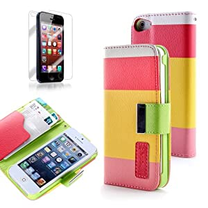 ATC PU Leather Quality Wallet Case for iPhone 5 Horizontal with Credit Card Slots & Holder Leather Case (Sprint, AT&T Verizon and International Carriers)(Red+Yellow+Pink)