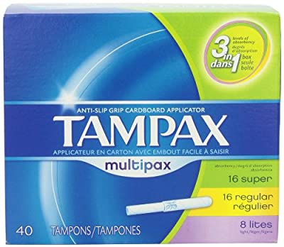 Tampax Cardboard Applicator Multipax Tampons 40 Count (Pack of 3)