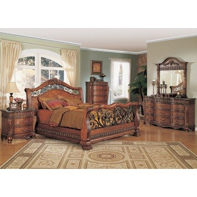 furniture bedroom furniture sleigh bed cherry finish queen
