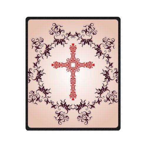 Personalized Fashion Flower Cross In The Wreath Picture Fleece Blanket 50 X 60 back-1079652