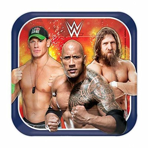 "Amscan Grand Slammin' WWE Birthday Party Square Dessert Plate (8 Piece), Multi, 7"" - 1"
