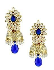 The Art Jewellery Rajwadi Polki Blue Jhumki Earrings For Women