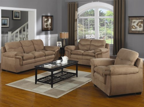 Buy Low Price AtHomeMart 3PC Casual Upholstered Sofa, Loveseat, and Chair Set (COAS502091N_502092N_502093N_3PC)