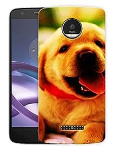 "Cute Pup HappyPrinted Designer Mobile Back Cover For ""Motorola Moto Z"" (3D, Matte, Premium Quality Snap On Case)"