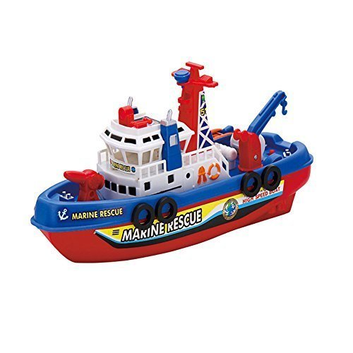 Electric with sounds and lights Toys City Rescue Harbour Boat w/ Squirting Water Jet and Control Rudder + Fun Bath Tub Pool Toy Boats for kids