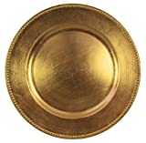 Charge It By Danny Gold Beaded Round Charger Plates Premium Quality, Set of 4