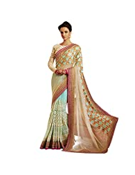 Cyan Blue And Beige Georgette+Net Designer Saree