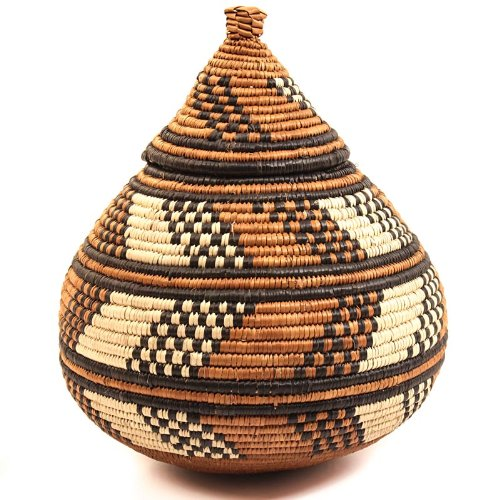 """Fair Trade Zulu African Ilala Palm Ukhamba Basket 8.5-9.5"""" Tall"""