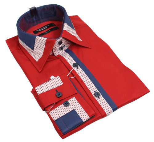 Mens Italian Design Red Blue White Shirt Slim Fit Smart or Casual 100% Cotton