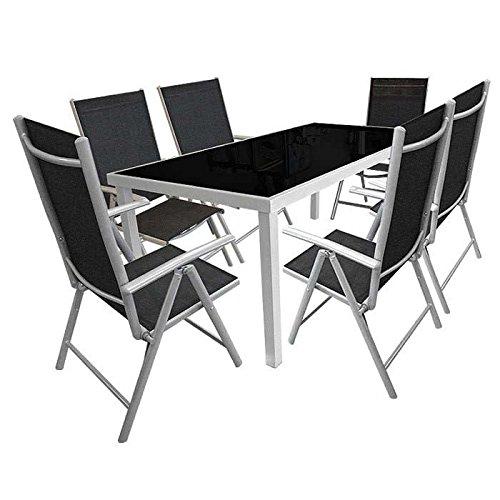7tlg. Gartengarnitur Alu/Glas Sitzgruppe Sitzgarnitur Glastisch 180x90cm + Hochlehner mit Textilenbespannung Lehne 7-fach verstellbar – Silber/Schwarz online bestellen