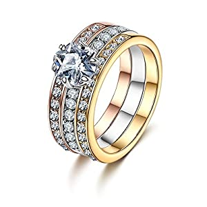 Forcolor Tri-Colored Plated Three-Row SWAROVSKI ELEMENTS Crystal Round Cut Ring for Women