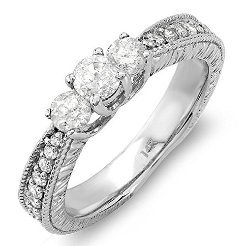 0.58 Carat Three Stone Cheap Diamond Ring with Round cut Diamond on 18K White gold