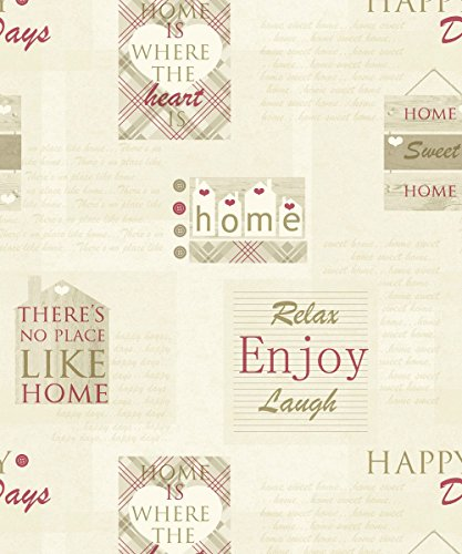arthouse-happy-days-home-heart-pattern-check-motif-metallic-vinyl-wallpaper-red-beige-888602