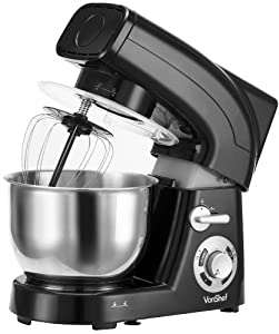VonShef Stand Mixer, 5.5 Litre, 1200W, Black - Silicone Beater, Balloon Whisk, Dough Hook, Dust Cover & Splash Guard