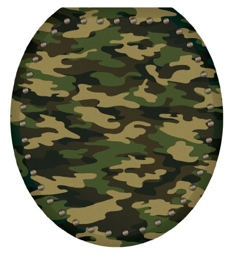 Toilet Tattoos TT-1026-R Army Camouflage Decorative Applique For Toilet Lid, Round
