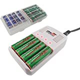 UltraCell Plus NiZn 1.6v AA - 2800mWh, AAA - 1150mWH High Voltage Rechargeable Batteries With Battery Box and Charger (Combo for 4pcs AA, 4pcs AAA, 2pcs Clear Battery Boxes, 1pcs NiZn Charger)