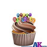 """Decorazioni commestibili in wafer per cupcake, motivo palloncini e scritta """"Happy Birthday"""", 12 pezzi"""