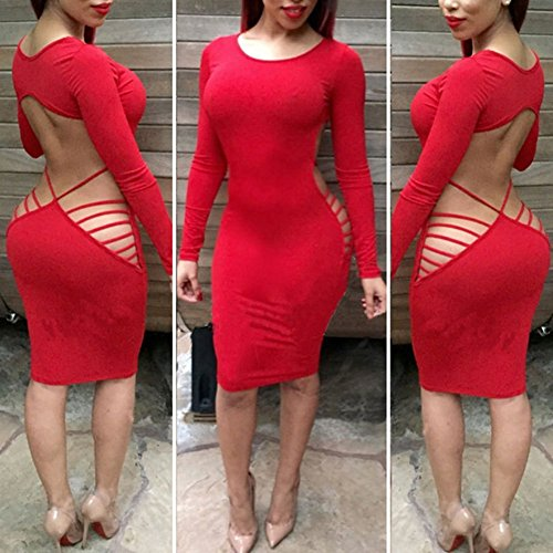 New 2015 Fashion Women's Sexy Hollow out Backless Irregular Bandage Dress Night Club Party Dresses Red Large (Night Clubs compare prices)