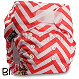LittleBloom, Reusable Pocket Cloth Nappy, Fastener: Velcro, Set of 1, Pattern 1, Without Insert, Red Zag