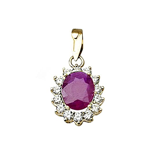 18k gold pendant 9x7mm oval stone ruby ??center. zircons [AA4802]
