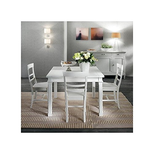 110x 110Extending Table Modern Country Design White Solid Wood–-as photo White and Ivory