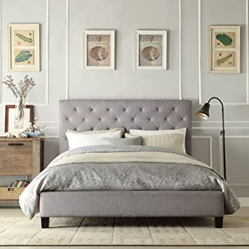 Home Creek Sascha Linen Tufted Platform Bed