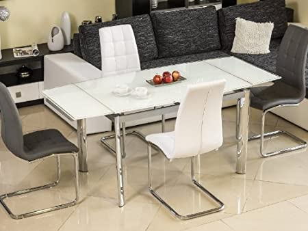 Honey Extendible Dining Table with Glass Tabletop [White]