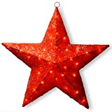 National Tree Red Sisal Star, 33-Inch, Pre-Lit with 35 Clear Lights