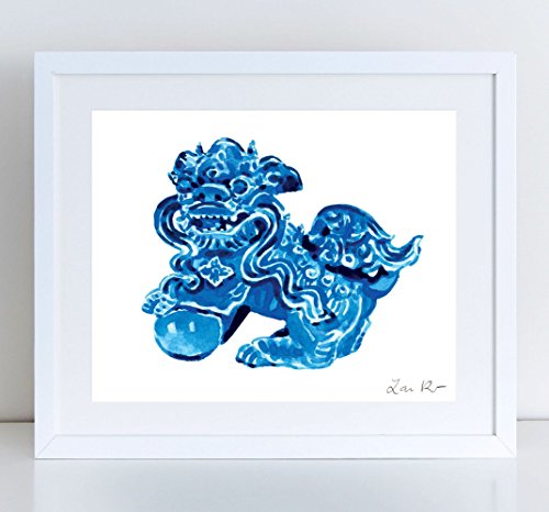 Foo Dog Blue Ceramic China - Giclee Print of Watercolor - 8 x 10, 11 x 14 inches Fine Art Poster Fu Lion Japan Bookends Asian Decor Porcelain Chinoiserie Chinese Antique Ming Vase Pattern Fine China Japan