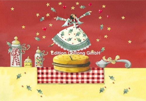 Doppelkarte mit Umschlag ~ Nina Chen ~ Engel mit Gebäck (mit Glimmerlack)