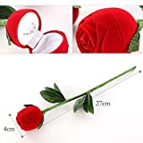 1 x Surprise Red Rose Wedding Ring Box Earrings Pendants Jewelry Case Valentine Gift (Empty)