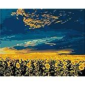 油絵DIY 数字キットによる絵画 世界的に有名な油絵 ひまわり畑 40x50センチ