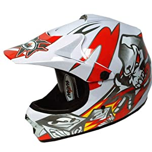 WOW Motocross Youth ATV Dirt Bike Skull MX Helmet, Red, L (54-55 CM,21.3/21.7 Inch)