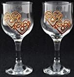 Pair of Wine Glasses in a Burgundy Celtic Double Love Knot Design. Handpainted and designed in the UK by Beverley Gallagher, these significant and expressive gifts are ideal for Valentine's Day, Mother's Day, Easter, Christmas, birthdays, anniversaries,