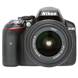 Nikon D5300 24.2MP Digital SLR Camera (Black) with AF-P 18-55 and AF-P DX Nikkor 70-300mm f/4.5-6.3G VR Kit + 8GB Card and Camera Bag + Free HP Deskjet 112 Printer