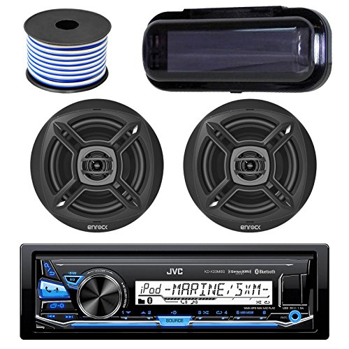 JVC KD-X33MBS In-Dash Marine Boat Bluetooth Radio USB Receiver Bundle Combo With Pair Of Enrock EKMR1672 6.5