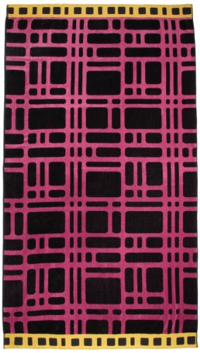 Northpoint Kerala Oversized Double Jacquard Plush Velour Beach Towel, 40 by 70-Inch, Onam Festival Hot Pink Maze