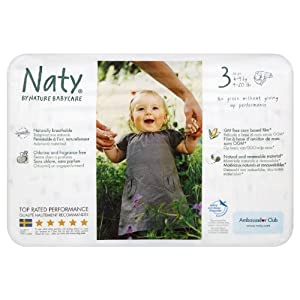 Naty by Nature Babycare Size 3 (9-20 lbs/4-9 kg) Nappies - 4 x Packs of 36 (144 Nappies)