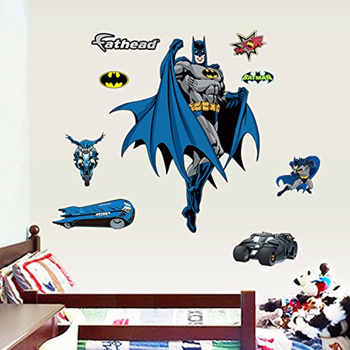 Wall Stickers Decals Paper Removable Pvc Home Living Dinning Room Bedroom Kitchen Decoration Art Murals Diy Stick Girls Boys Kids Nursery Baby Room Playroom Decorating (Batman)