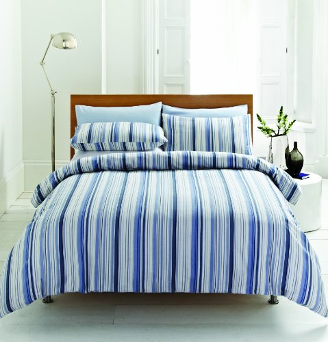 Blue Stripe 100 Brushed Cotton Flannelette Super King Size