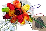 Fall Thanksgiving Harvest Festival Flower Bouquet Wooden Roses Closed bud (1 Dozen)