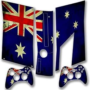 Drapeaux Australie 2, Carte du Monde, Full Body Autocollant Skin Sticker de Protection Peau Vinyl Decal avec Motifs Colorés et Effet de Cuir pour Xbox 360 Slim Set Console de Jeu avec deux Controllers.